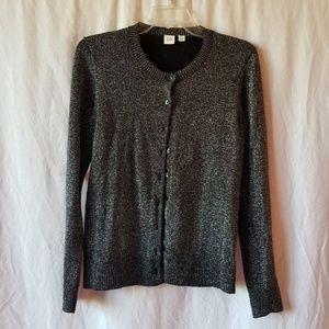 Gap black/silver metallic cardigan size Medium